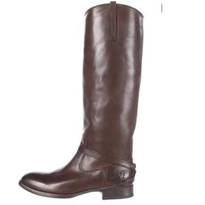 Frye Lindsay Plate Knee High Brown Boots Size 8